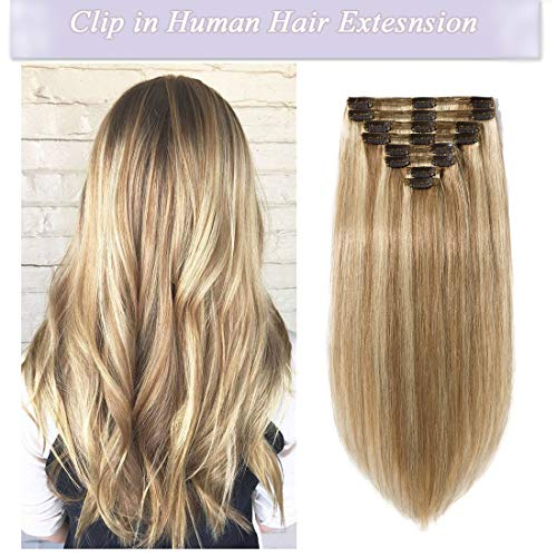 s-noilite Clip in Human Hair Extensions 100% Real Remy Thick True Double Weft Full Head 8 Pieces 18 clips Straight silky (18 inch - 140g,Light Golden Brown/Bleach Blonde (#12/613)) (Best Real Hair Clip In Extensions)
