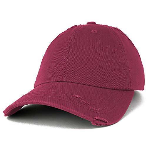 (Vintage Frayed Unstructured Adjustable Polo Cap - MAROON)
