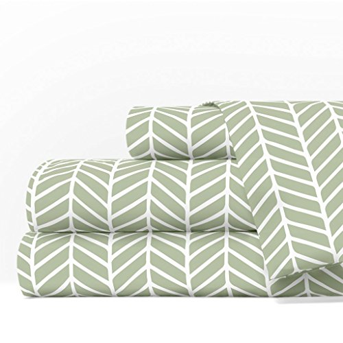 Egyptian Luxury 1600 Series Hotel Collection Herringbone Pattern Bed Sheet Set - Deep Pockets, Wrinkle and Fade Resistant, Hypoallergenic Sheet and Pillowcase Set - Cal King - Sage/White (Cotton Egyptian Cotton Print)