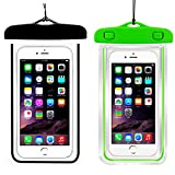 (2Pack) Universal Waterproof Case, CaseHQ IPX8 Waterproof Phone Pouch Dry Bag for iPhone X/8/8plus/7/7plus/6s/6/6s Plus Samsung Galaxy s8/s7 Google Pixel HTC10 up to 6.0'' Diagonal (Black+Green)