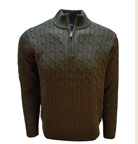 Vineyard Vines Men's Cotton Cashmere Cable Quarter Zip Sweater (XS, Dark Olive)