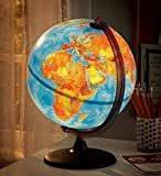 Electric Illuminated Orion Relief World Globe Detailed Educational Geographic Learning Toy Sturdy Non Tip Base Interior Light 12 Inch Diam