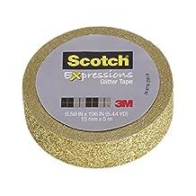 Scotch Expressions Washi Glitter Tape, Gold, 15mm x 5m, (C514-GLD)