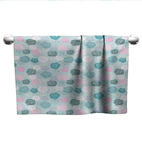 Personalized Hand Towels Navy and Blush,Retro Style Rose Motifs Silhouettes Romantic Fantasy Seasonal Garden,Seafoam Pink White,t Shirt Towel for Curly Hair
