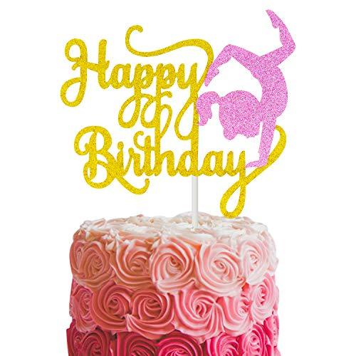 Joymee Gold Glitter Gymnastics Cake Topper for Girl