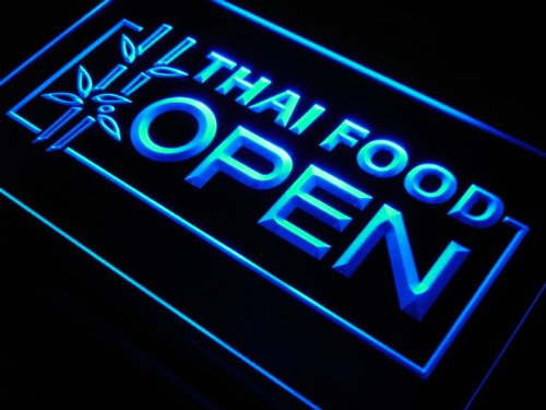 Thai Food OPEN Cafe Restaurant LED Sign Neon Light Sign Display j705-b(c) by AdvPro 3D Sign