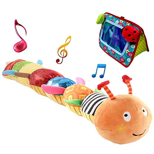 (Interactive Stuff Animal Infant Toys - Musical Caterpillar Crinkle Soft Cuddly Baby Toys with Ruler Design, Bells & Rattle Plush Toy for Newborn, Boys, Girls and Over 3 Months (Baby Mirror FREE))