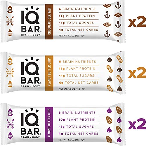 IQ BAR Brain + Body Bar Chocolate Lovers Variety Pack | 10g Plant Protein, 1g Sugar, 4g Net Carbs, Keto, Paleo Friendly, Vegan, Gluten Free, Low Carb, 1.6oz Bar, 6 Count
