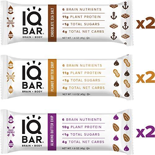 IQ BAR Brain + Body Bar Chocolate Lovers Variety Pack | 10g Plant Protein, 1g Sugar, 4g Net Carbs, Keto, Paleo Friendly, Vegan, Gluten Free, Low Carb, 1.6oz Bar, 6 Count