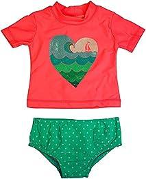 Baby Girls 2PC Short Sleeve Rashguard Swim Set