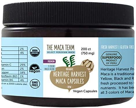 The Maca Team Premium Pure Raw Organic Maca Root Capsules Certified Organic, GMO-Free and Gluten-Free, 750 mg, 200 Ct.