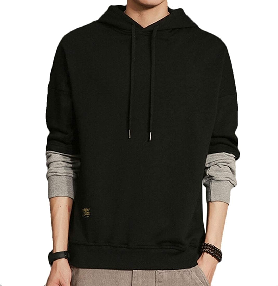 omniscient Men Long Sleeves Hoodie Coat Fake Two Piece Pullover Sweatshirt