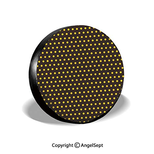 (Spare Tire Cover,Pop Art 50s 60s Retro Design with Polka Dots Circles Image Decorative,Dark Brown and Marigold,for Jeep,Trailer, RV, SUV and Many Vehicle 15