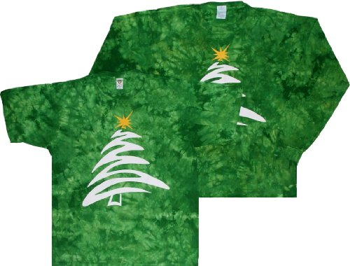 - Tie Dyed Shop Christmas Tree Green Crinkle Long Sleeve Tie Dye T-Shirt-2X-Multicolor