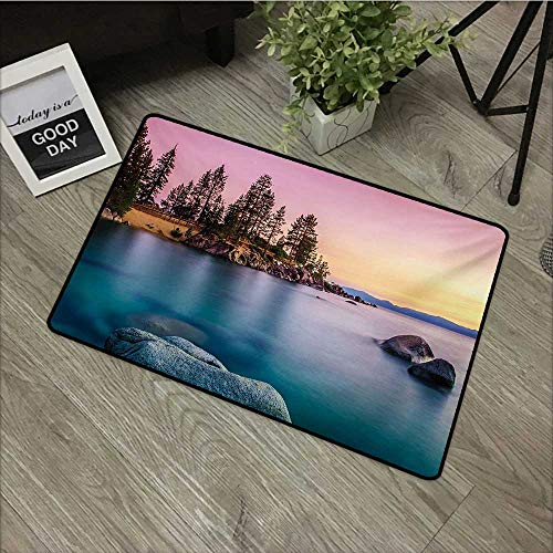 Moses Whitehead Floor Mat Rug Lake,Trees on The Alley and Stones in The Lake Motivational Nature Inspired Tranquil Serene,Pink Blue,for Indoor/Outdoor/Front Door/Shower Bathroom 35