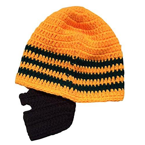 Bess Bridal Crochet Beard Hat Mask Ski Cap Unisex Mustache Warmer Winter Ski Beanies (Orange/Green)