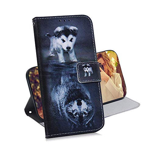 - XYX Mobile Phone Case for Galaxy A10,Premium PU Leather Wallet Case with Credit Card Pockets for Samsung Galaxy A10 SM-A105 - Dog Wolf
