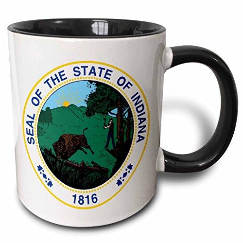 Indiana Mug (3dRose State Seal of Indiana Two Tone Black Mug, 11 oz)