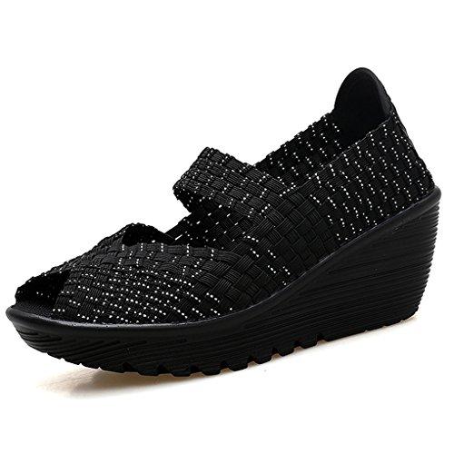 Ruiatoo Women's Woven Wedge Pump Casual Platform Sandals Shoes Open Toe Silver Black