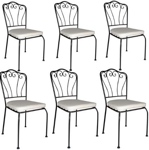 Sedie In Ferro Battuto Bianche.Sedie In Ferro Battuto Per Tavolo Giardino Con Cuscino Bianco 6
