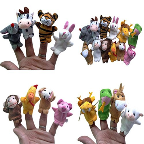 Chinese Zodiac Animal Finger Puppets Plush Kawaii Toy Dolls Props for Kids Set of 12Pcs Jungle Finger Puppets