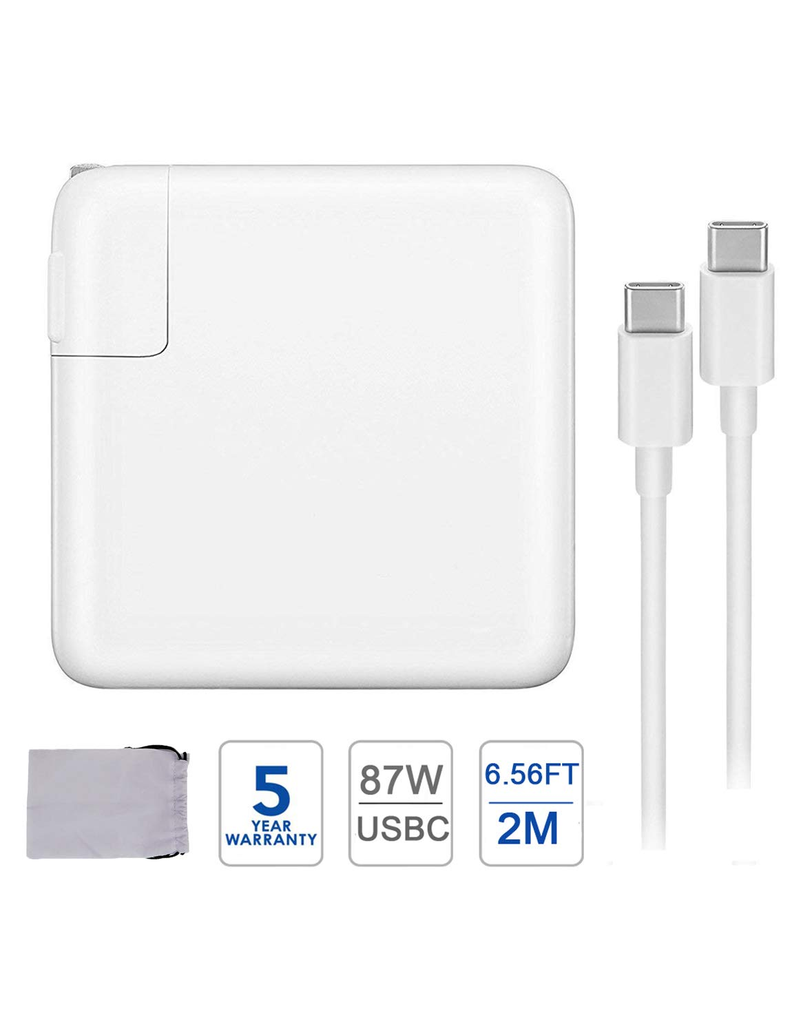 87W USB C Charger Power Adapter for MacBook Pro 15 Inch 13 Inch MacBook 12Inch MacBook Air iPad Pro 2018 2019 Include Charge Cable by iProCharger