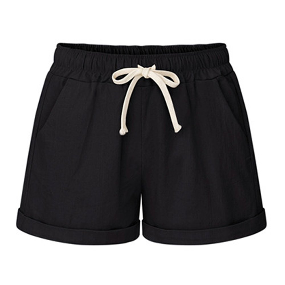 FunkyAmy Womens Elastic Soft Cotton Summer Shorts Running Shorts Black 2XL