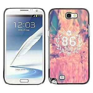 86 Otoño Ciudad Número Born Boy - Metal de aluminio y de plástico duro Caja del teléfono - Negro - Samsung Note 2 N7100