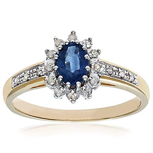 mglmahi or jaune 9ct saphir bleu et diamant Look Bague Grappe