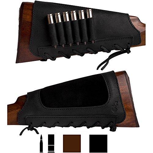 BronzeDog Leather Cartidge Buttstock Shotgun Shell Holder, Hunting Buttstock Ammo Holder Pouch Bag for Rifles, Shotgun Shell Pouch Shell Holder Stock (Matte - Shotgun Black