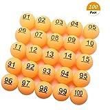 SelfTek 100Pcs Numbered Beer Pong Balls 40mm Raffle Balls (No. 1-100)
