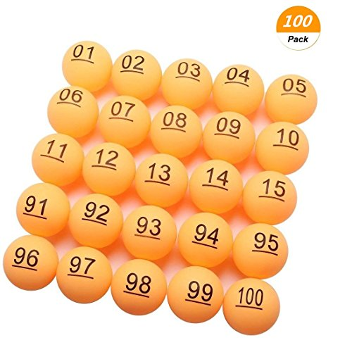 SelfTek 100Pcs Numbered Beer Pong Balls 40mm Raffle Balls (No. 1-100)