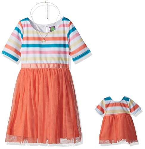 Dollie & Me Little Girls' Striped Knit to Mesh Fashion Dress and Matching Doll Outfit, Coral/Multi, 6 -