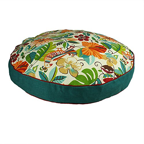 Medium Indoor Outdoor Red Blue Green Floral Pattern Dog Bed, Paisley Round Pet Bedding, Jungle Bold Print, Features Water Mildew Fade Resistant Base, Removable Cover, Stylish, Polyester by N2