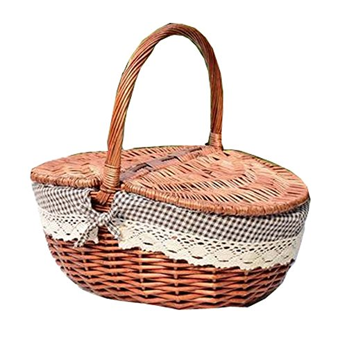 Red-brown Bamboo Worsted Willow Rattan Brocade Outdoors Fruit Picnic Basket