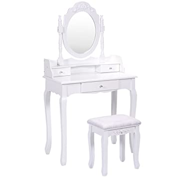 Giantex Bathroom Vanity Wood Makeup Dressing Table Stool Set With Mirror  (Round Mirror, 3