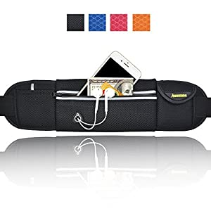 AIKELIDA Running Belt / Runner Waist Pack / Running Gear Bag / Runners Belt for iPhone , Samsung Galaxy - for Men, Women during Workouts, Fitness, Cycling, Hiking, Walking, Running - Black