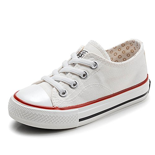 xiaoyang Kids Sneakers Casual Canvas Shoes Solid Colors Low Top Lace Up Flat (White-5 M US Big Kid)