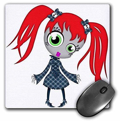 (3dRose Blonde Designs Happy and Haunted Halloween - Halloween Creepy Redhead Girl in Blue Dress - MousePad)