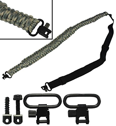 Ultimate Arms Gear Two QD 1'' Slot Wood Screws for Buttstocks Stud Swivel + 550 lb Paracord Survial Sling, ACU Army Digital Camo 56' ft Cord with Swivel Ends for Remington 870/1187/11-87 12/20 Gauge by Ultimate Arms Gear