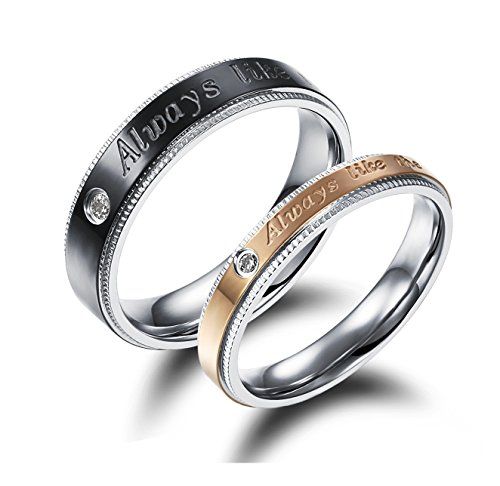 Brand New His or Hers Matching Set Titanium Stainless Steel Couple Wedding Band Set in a Gift Box ()