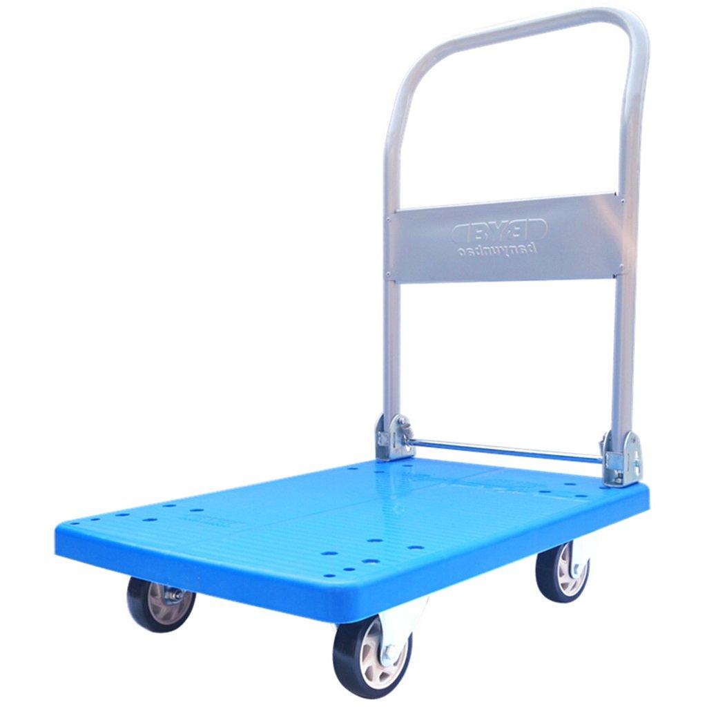 XUAN YUAN トロリー/折りたたみトロリーPVC四輪プルトラックハンドトラックブルーフラットベッドプラスチックバンツールカートの負荷150KG @ (色 : 青)  青 B07MM3XPG4