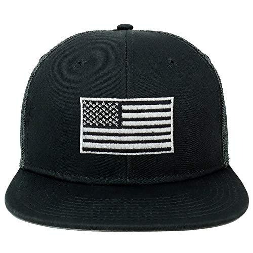 Armycrew Oversize XXL Grey American Flag Embroidered Flatbill Mesh Snapback Cap