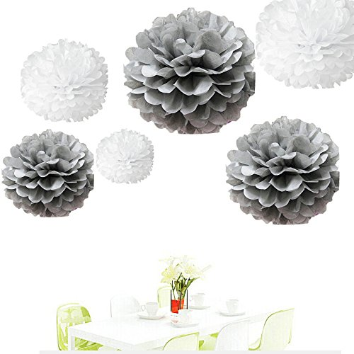 Party Decor,Pom Pom Flowers,Tissue Paper Flowers Kit,Pom Poms Craft,Wedding Pom Poms 6284678 Wedding Decor Since/®12Pcs of 8 10 14 3 Colors Mixed White and Grey Tissue Paper Flowers,Tissue Paper Pom Poms