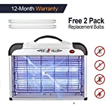 Micnaron Portable Bug Zapper, Electric Indoor Insect Killer Mosquito, Bug, Fly and Other Pests Killer – Powerful 2800V Grid 20W Bulbs – Free 2-Pack Replacement Bulbs Included - Indoor Use Only