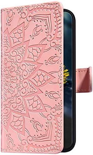 Uposao Kompatibel mit Samsung Galaxy A20e Hülle Leder Handyhülle Schutzhülle Mandala Blumen Muster Flip Wallet Bookstyle Case Ledertasche Lederhülle Klapphülle Magnet Kartenfächer,Rosa