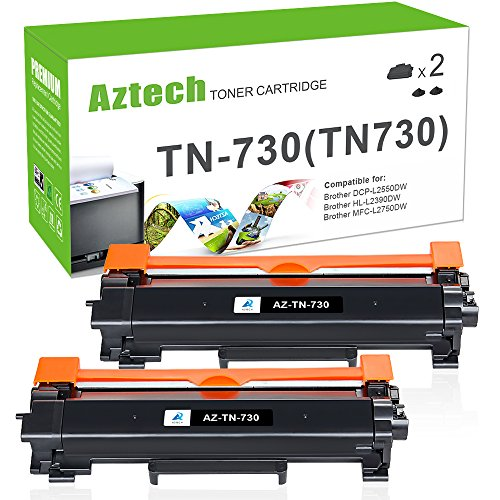 Aztech 2PK Compatible for Brother TN730 TN-730 TN760 HL-l2350dw HLL2395DW Toner Cartridge for Brother ...