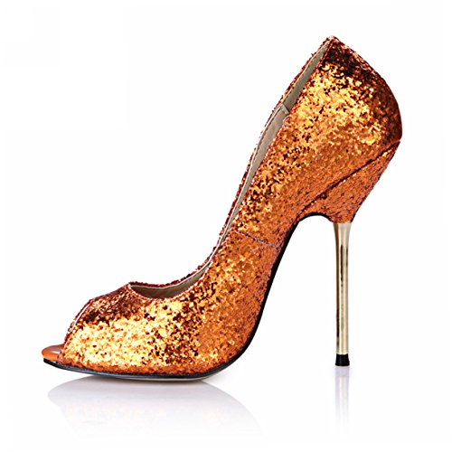 Paillettes Robe Peep Stiletto Pompes Multi Couleurs Mode Femmes Hauts Talons Dolphingirl Dorsay Chaussures Prime Glitter Orange