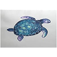E by design RAN465WH1-35 Sea Turtle, Animal Print Indoor/Outdoor Rug, , 3 x 5, White