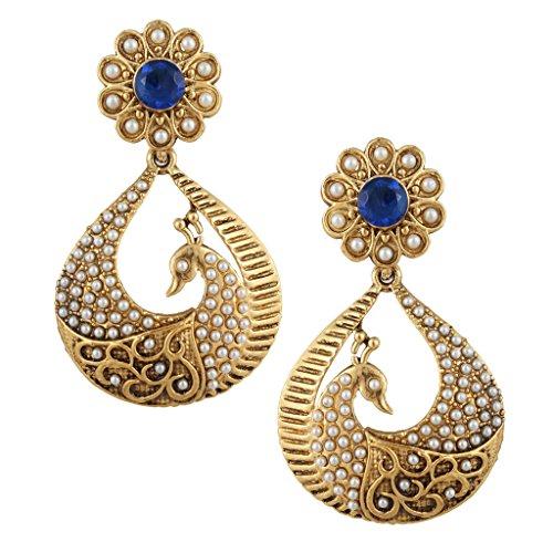 Blue peacock motif Faux Pearl India Artisan earrings set PCEAZ003BL